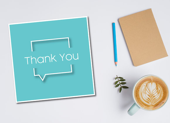 Blue Square Thank You Card