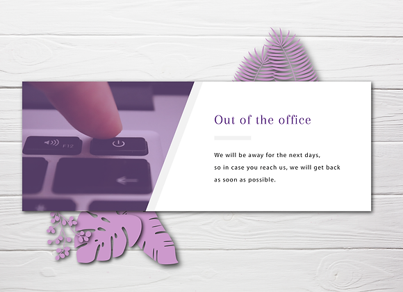 Out of Office Summer Header: Purple Turn Off