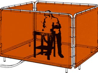 Utilização de lona para biombo de solda - Proteção durante o processo de soldagem