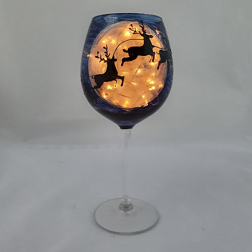 Santa silhouette wine glass