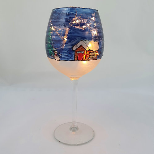 Christmas cottage wine glass
