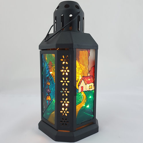 Clarice Cliff inspired small lantern