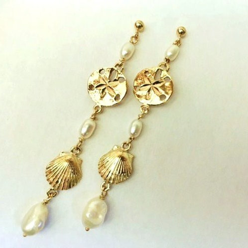 14K Gold Seashell and Freshwater Pearl Dangle Earrings