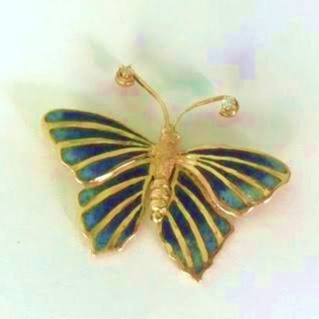 14K Gold, Enamel and Diamond Butterfly Brooch