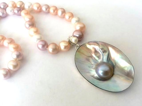 Freshwater Multi-Color Knotted Pearl Necklace