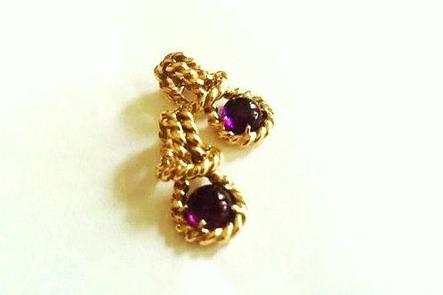 14K Gold Rope Amethyst Earrings