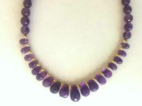 Amethyst Faceted Briolette Necklace