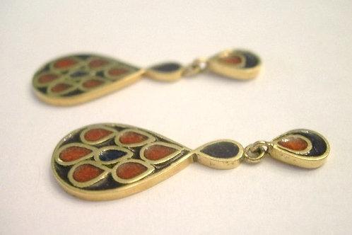 18K Gold Enamel Earrings