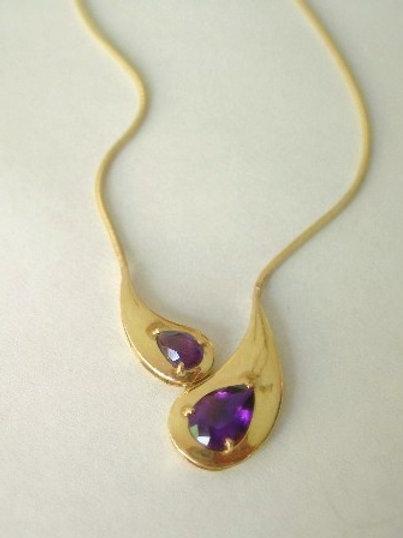 14K Gold Amethyst Necklace