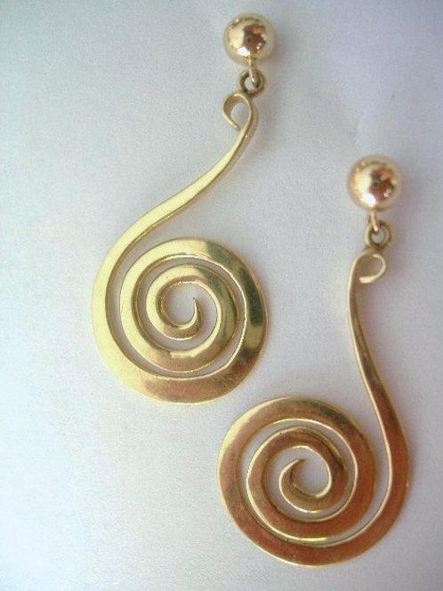 14K Gold Swirl Earrings