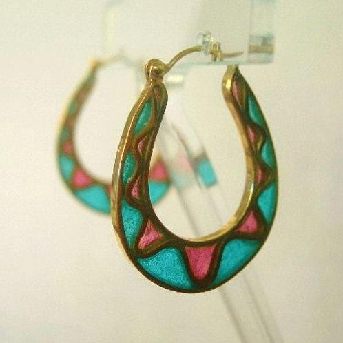18K Gold Enamel Hoop Earrings (SOLD)