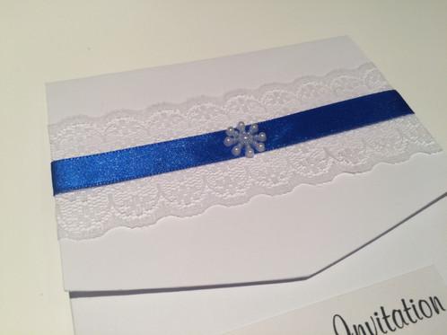 ribbon lace pocket fold invitation mini snowflake