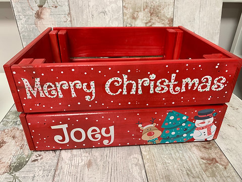 Christmas Eve Crate.Personalised Christmas Crate Christmas Eve Box Personalised Crate Red Crate