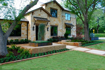 Chopped stone borders and steel planters