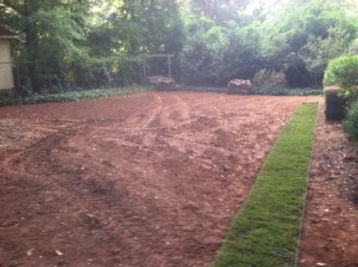 Graded lawn, prepped for sod