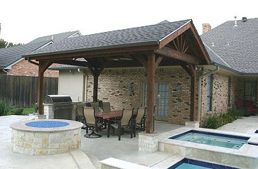 Kitchen, Fire Pit and Shingled Covering