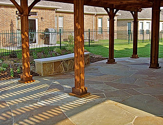 Oklahoma Flagstone Patio Mortared on concrete