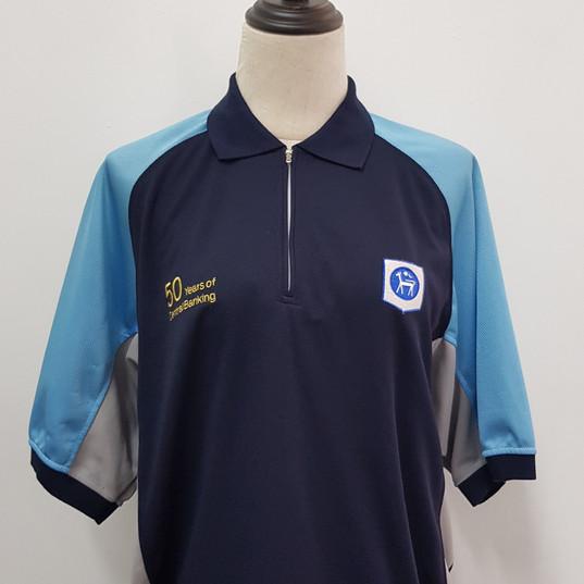 Bank Singapore Mandarin collar T-shirt
