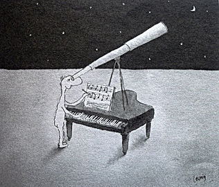 Man with telescope and piano