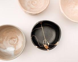 Realkintsugi Kintsugi gold black raku bowl japanese
