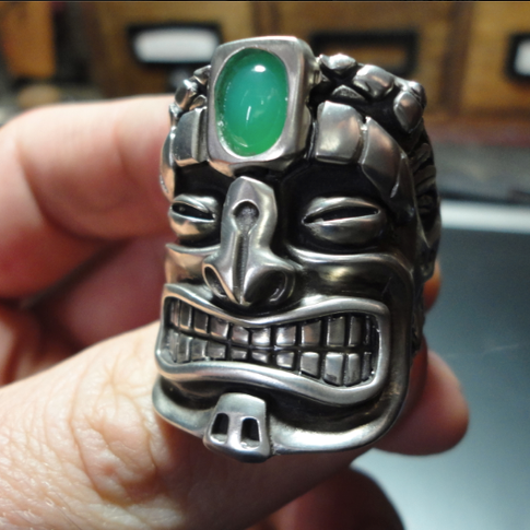 custom tiki ring with gemstone