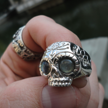 silver skull ring with moonstone