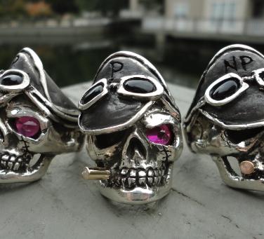 motorcycle club skull rings