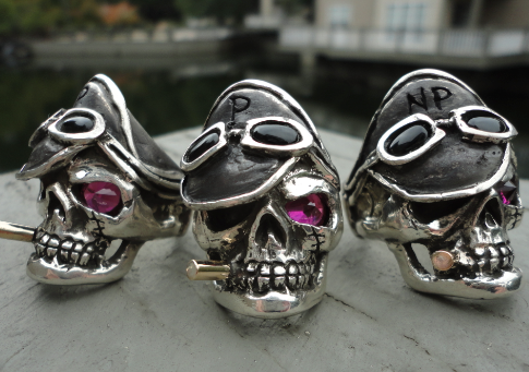 motorcycle club skull rings