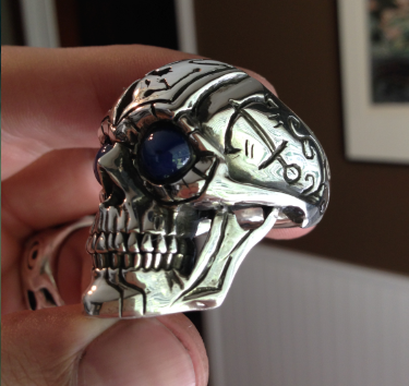 custom skull ring with anchors