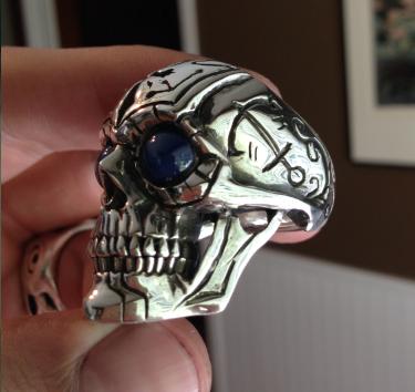 custom skull ring with anchors