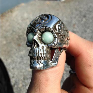 custom silver skull ring
