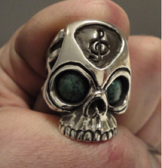 rock and roll skull ring