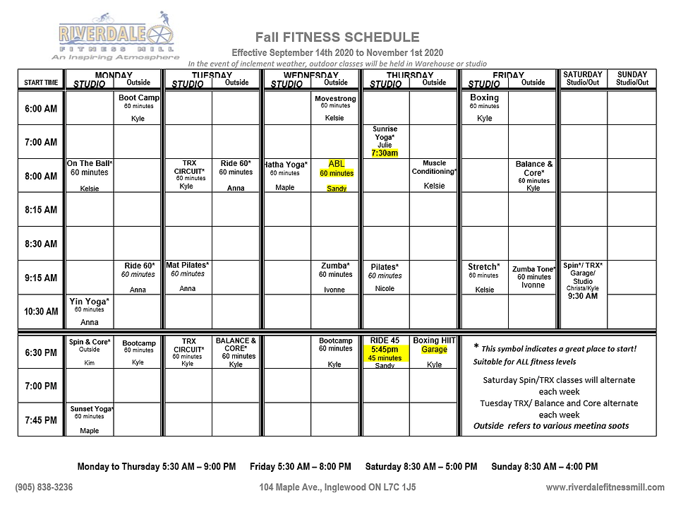 End of September Group Fitness Schedule.
