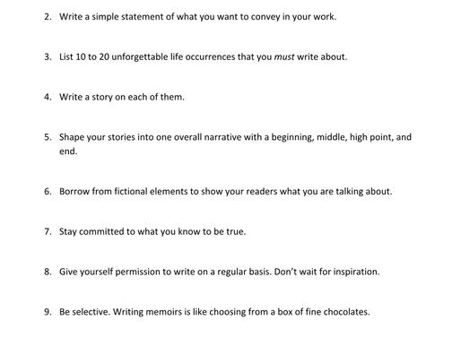 Tips on Memoir Writing