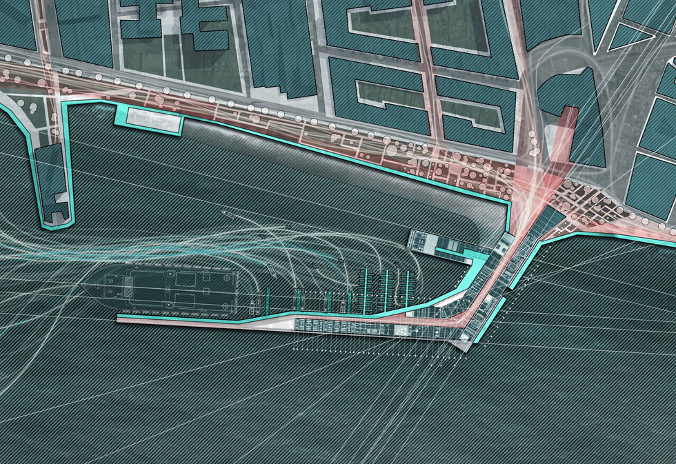 Sea port plan view