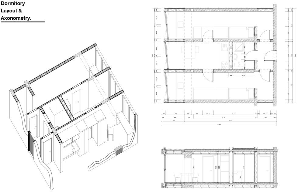 Dormitory Layout & Axonometry