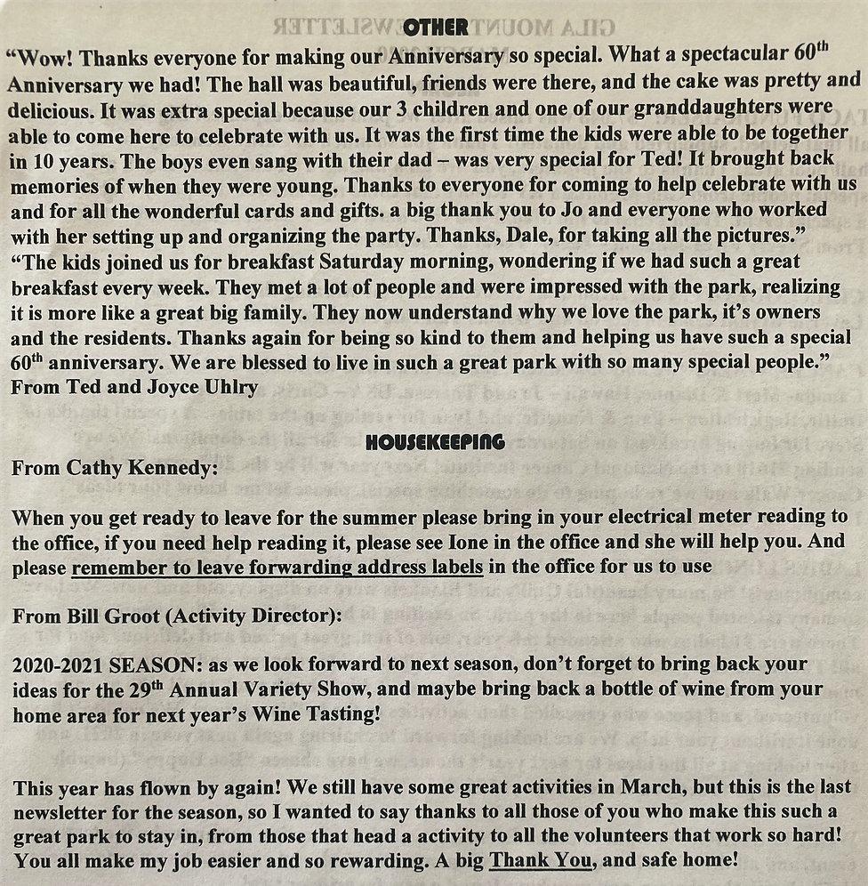 Gila Mountain RV Resort Yuma, Arizona March 2020 Newsletter