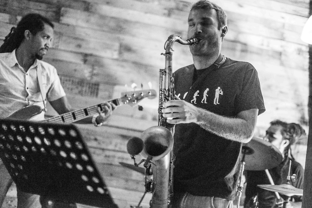 Dominican Republic Jazz musicians, Saxophonist, drummer and bass player, Bavaro, Punta Cana
