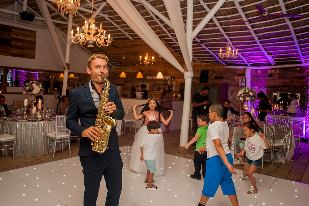 Huracan cafe restaurant and wedding venue, the saxophonist in Punta Cana