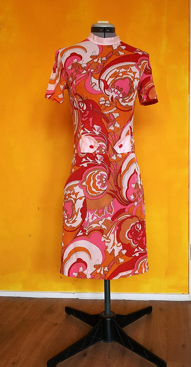 Mod Vintage Psychedelic Sixties Midi Dress