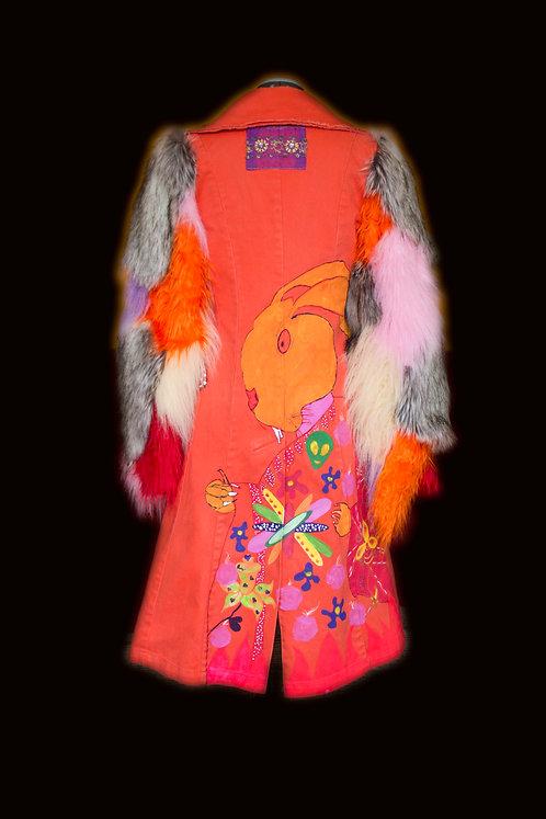 Mushroom Goddess DURGA Handpainted Long Art Coat