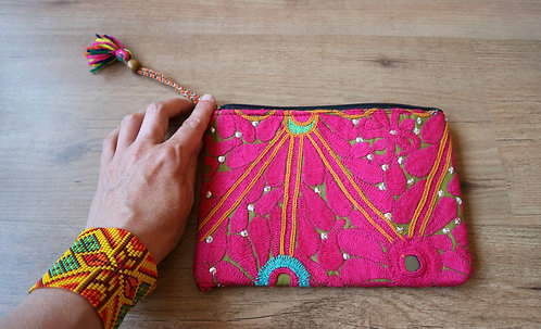 exotic ethnic tribal handmade art cosmetic bag, Durga Universe, fairtrade