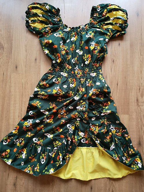 Frida Kahlo Vintage Green Long Cotton Dress 7