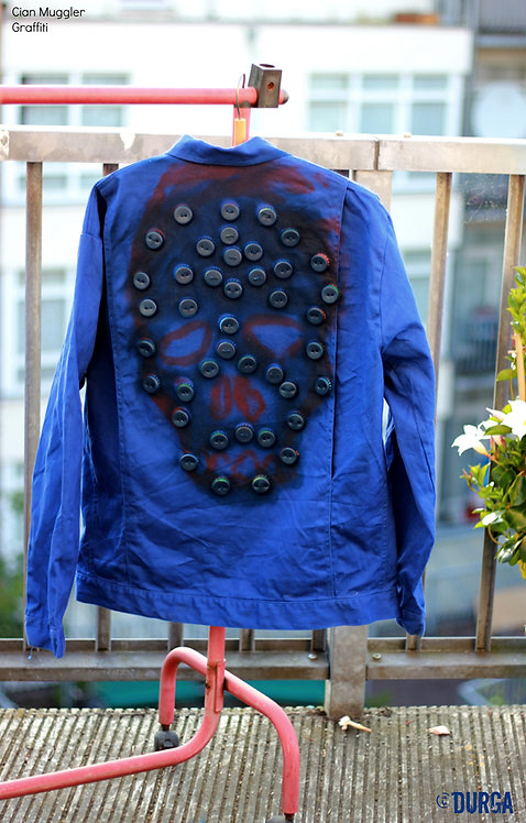 Skull Blue Men's Indie Alternative Graffiti Jacket