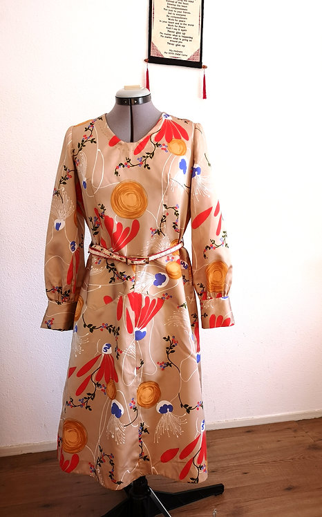 Golden Beige DURGA Handmade Vintage Dress