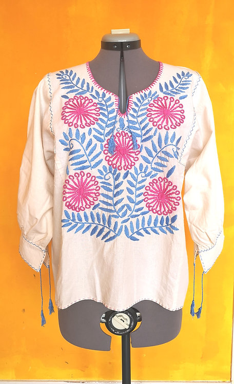 Mexican Yogini Handmade Embroidery Linen Blouse 1
