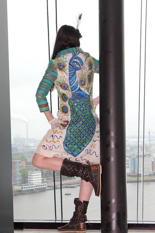 Peacock DURGA Handpainted Hemp Silk Art Coat 1
