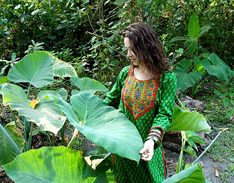 Bohemian DURGA Fair Trade Green Cotton Embroidery Tunica