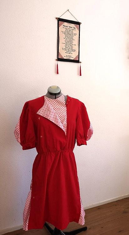 Red Hearts DURGA Handmade Midi Vintage Dress