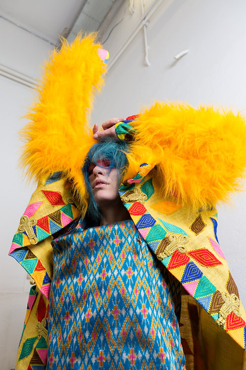 Acid Goddess Holographic Universe DURGA Fantasy Long Hemp Art Coat